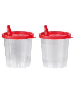 Urinbecher 125 ml mit rotem Schnappdeckel und Tülle, unsteril, 500 Stück