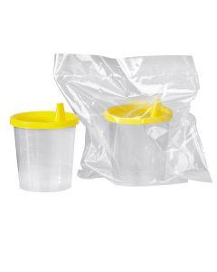 Urinbecher 125 ml mit gelbem Schnappdeckel und Tülle, steril, 150 Stück