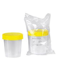 Urinbecher 100 ml mit gelbem Schraubdeckel, steril, 150 Stück