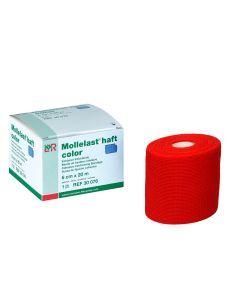 Mollelast® haft color latexfreie Fixierbinde, rot, 1 Stück, verschiedene Größen