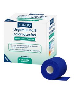 Urgomull haft color Fixierbinde latexfrei, blau, 1 Stück, verschiedene Größen
