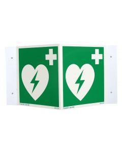 Defibtech AED Rechtwinkliges Nasenschild, 15 x 15 cm